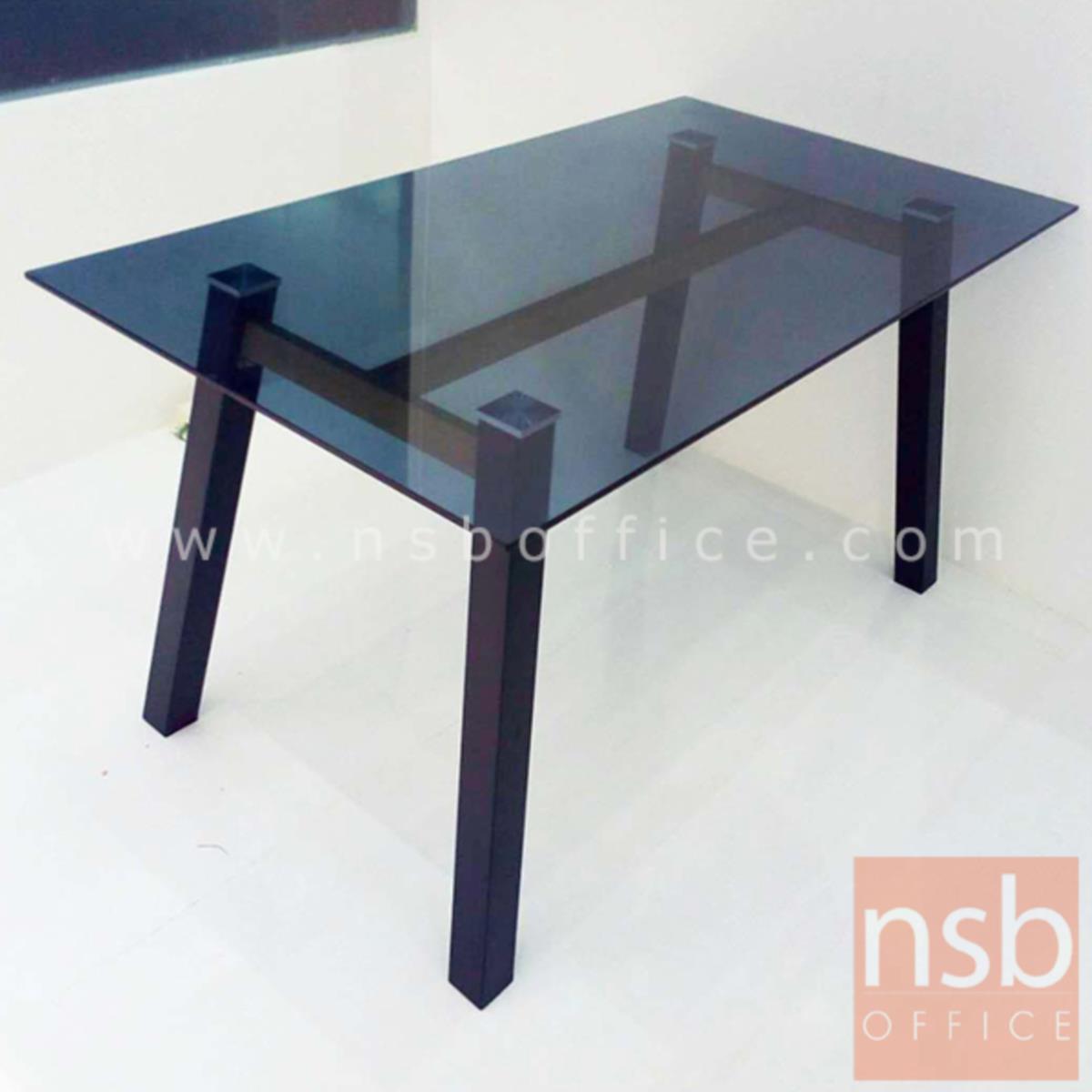 โต๊ะเหลี่ยมหน้ากระจก รุ่น Aquarius (อควาเรียส) ขนาด 140W cm. ขาเหล็กพ่นดำ