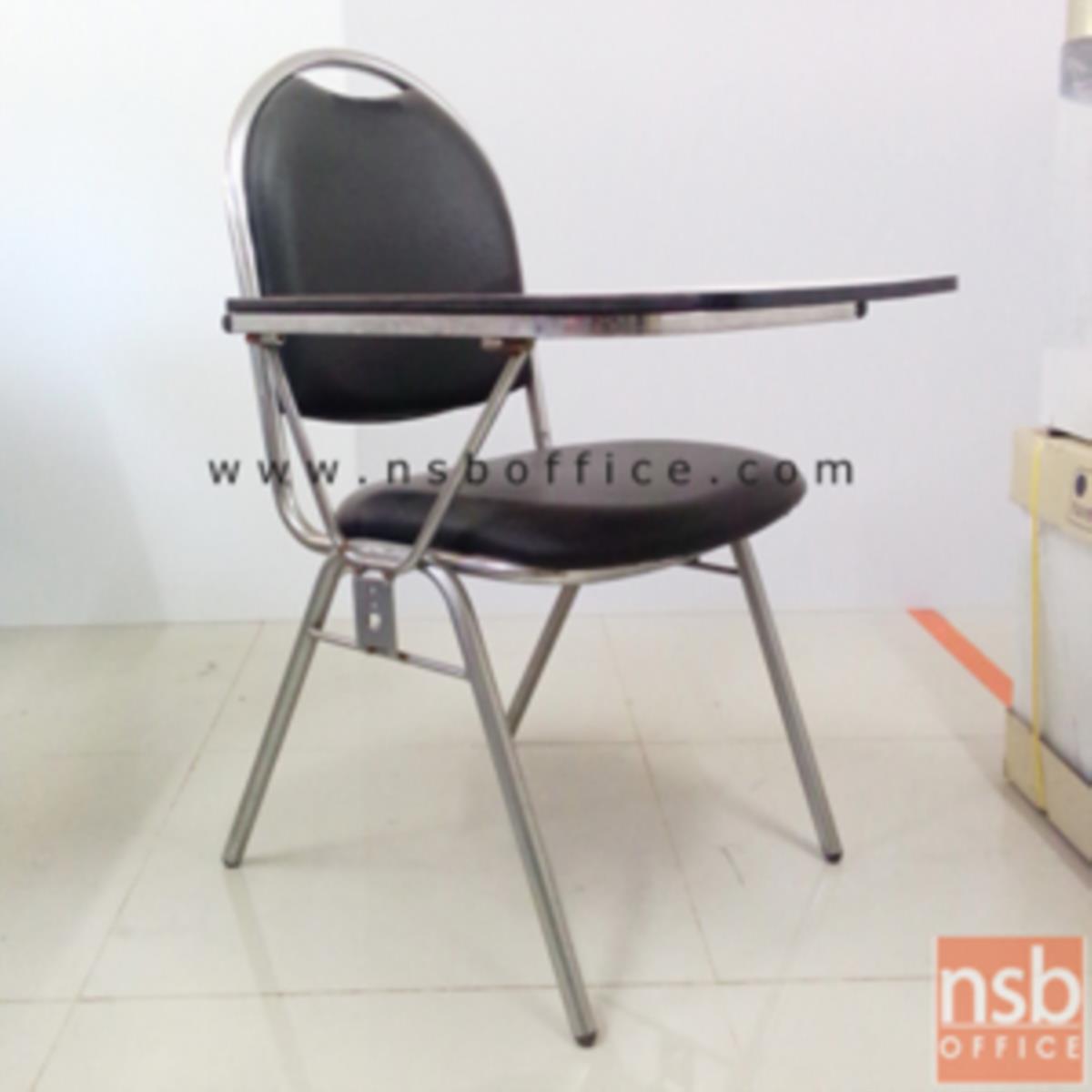 B07A001:เก้าอี้เลคเชอร์หุ้มหนังเทียม (PVC) รุ่น CL-100 ขาเหล็กชุบโครเมี่ยมและขาเหล็กพ่นดำ