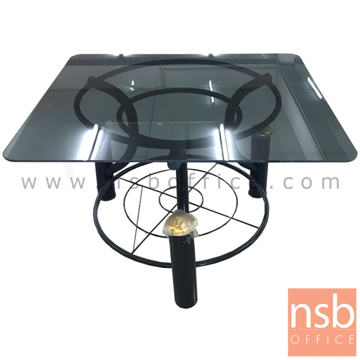 L01A140:โต๊ะเหลี่ยมโมเดิร์นกระจก  ขนาด 61W*38H cm. โครงขาดำ