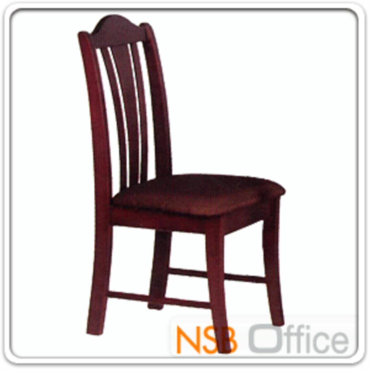 เก้าอี้ไม้ยางพาราที่นั่งหุ้มหนังเทียม รุ่น Morris (มอร์ริส) ขาไม้