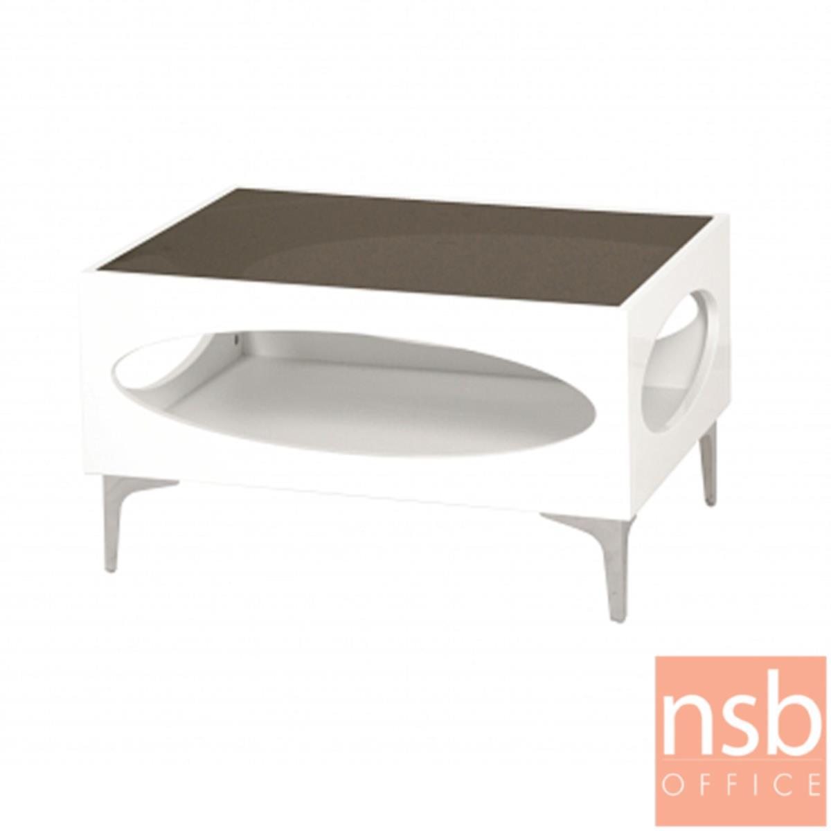B13A245:โต๊ะกลางโซฟากระจกสีชา  รุ่น GD-POK ขนาด 60W ,90W cm.  โครงไม้พ่นสีขาว ขาเหล็กชุบโครเมี่ยม