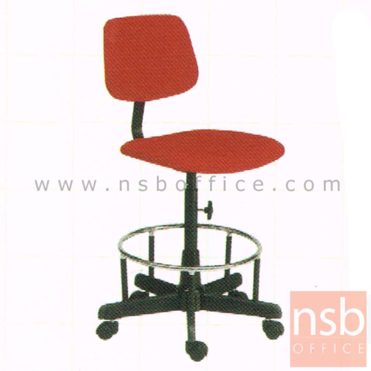 B26A123:เก้าอี้บาร์ที่นั่งเหลี่ยมล้อเลื่อน รุ่น Dwight (ดไวท์)  ขาเหล็ก