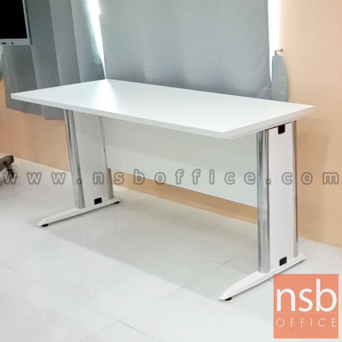 A05A031:โต๊ะประชุมตรง รุ่น Oracle  ขนาด 80W ,120W ,150W ,180W ,210W ,240W cm.  พร้อมบังตาไม้ ขาเหล็กตัวแอล