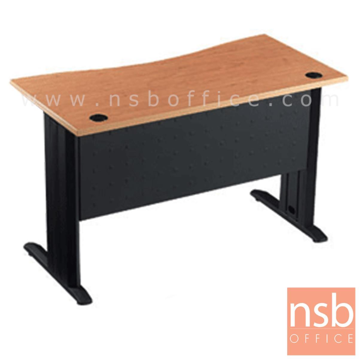 โต๊ะทำงานหน้าโค้งเว้า ขนาด 120W*75H cm. บังโป้เหล็ก รุ่น S-DK-0621  ขาเหล็กตัวแอลสีดำ