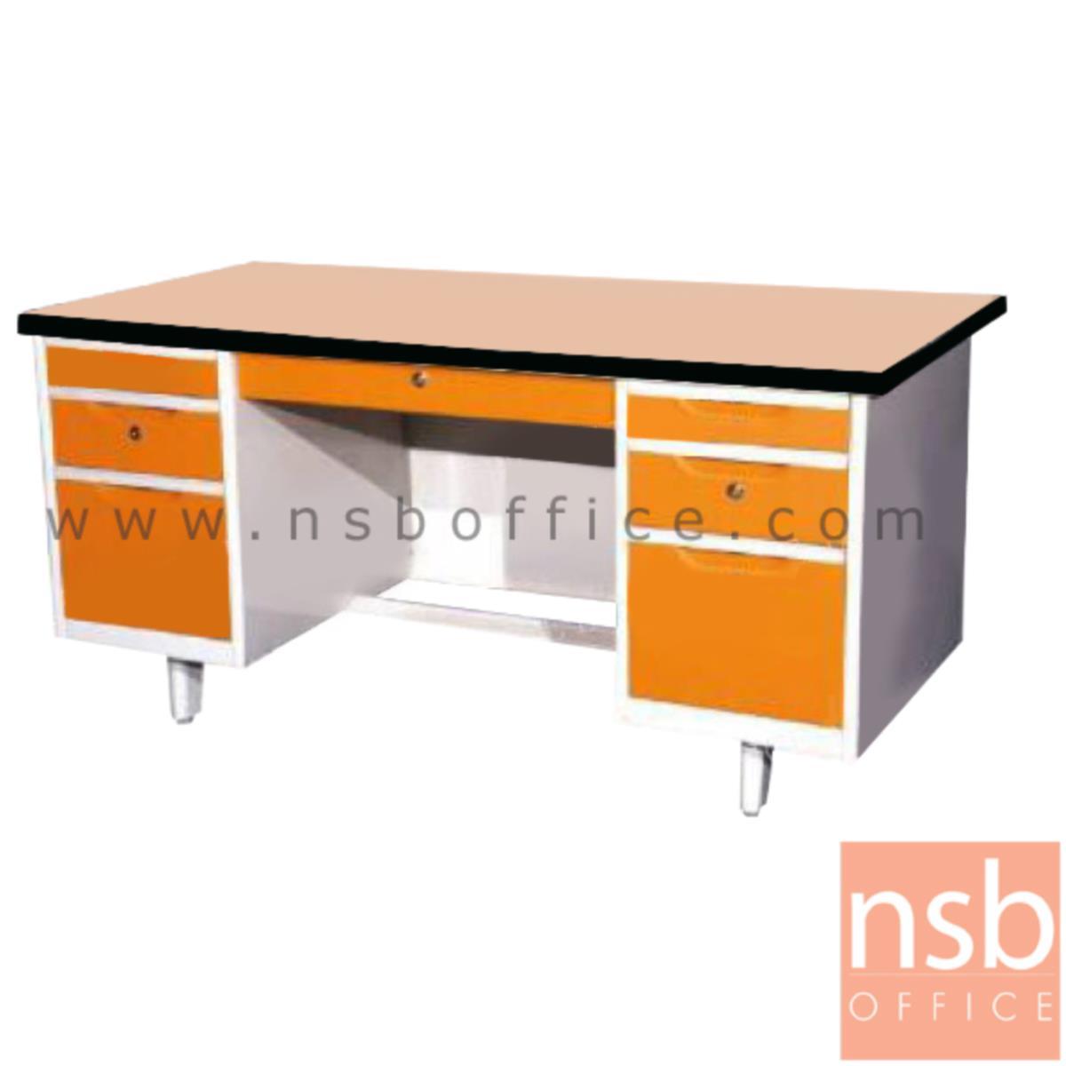 E02A050:โต๊ะทำงานเหล็กหน้า TOP ไม้เมลามีน 7 ลิ้นชัก รุ่น EL-45 ขนาด 4.5ฟุต, 5ฟุต