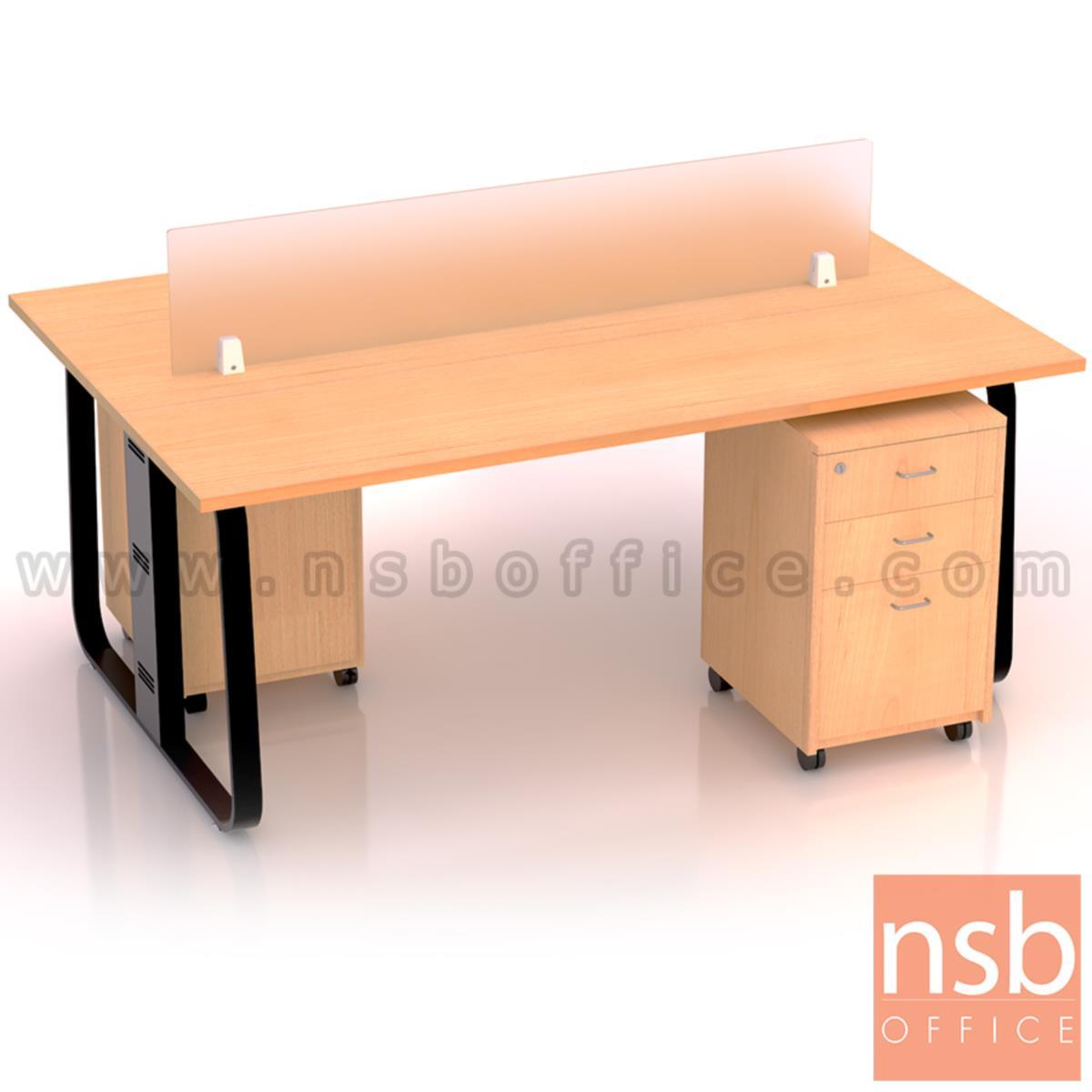 A27A051:ชุดโต๊ะทำงานกลุ่มขาเหล็ก 2 ที่นั่ง รุ่น Lenka 4 (เล็งกา 4) ขนาด 180W*120D cm พร้อมมินิสกรีนและตู้ลิ้นชักไม้ล้อเลื่อน