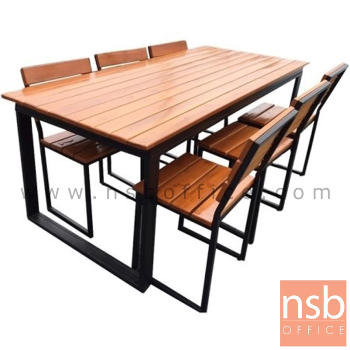 ชุดโต๊ะและเก้าอี้กิจกรรมไม้ระแนงทำสีสัก รุ่น WASHINGTON (วอชิงตัน) ขนาด 90W ,150W cm. ขาโมเดิร์น