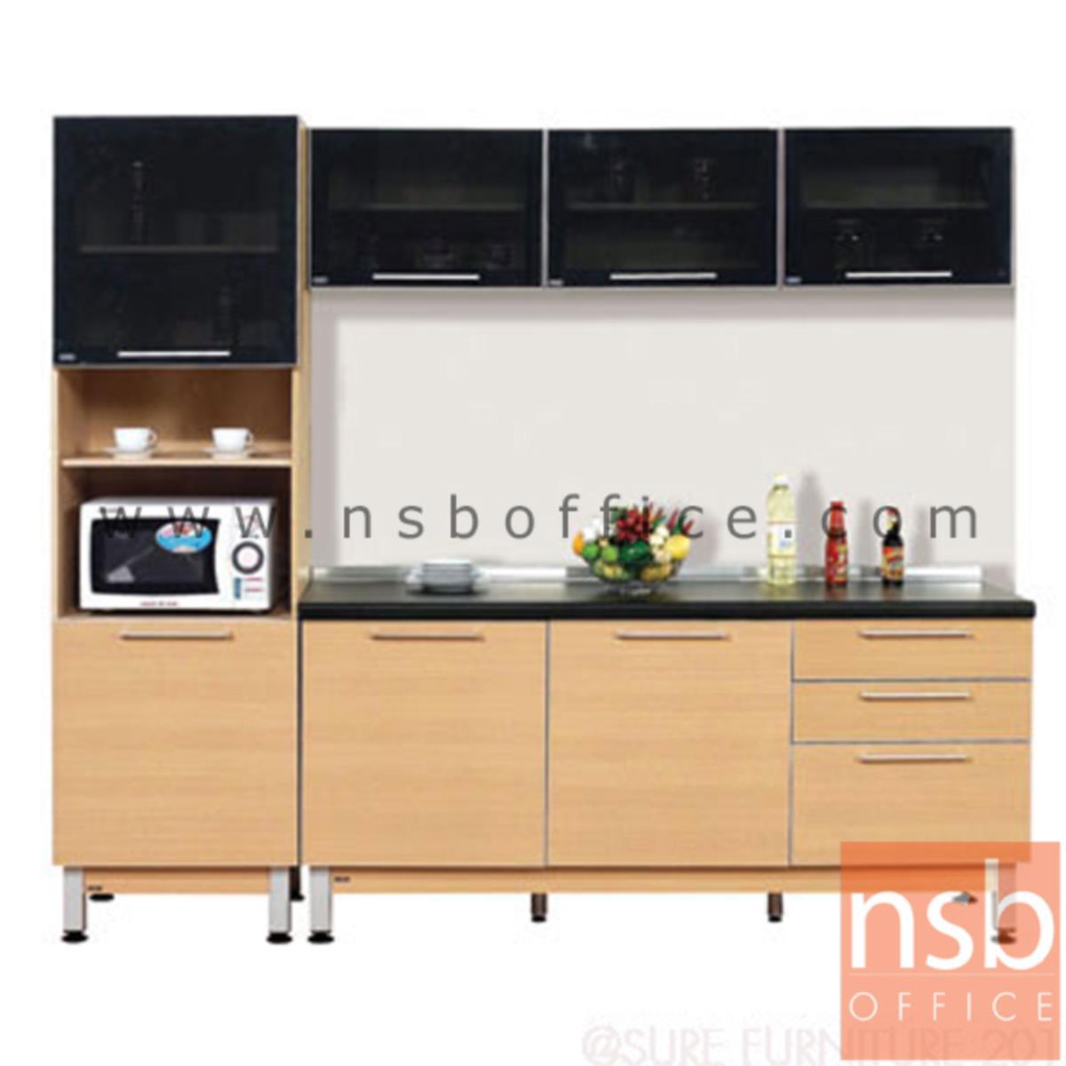 K02A013:ชุดตู้ครัวสีบีทดำ 240W cm.   รุ่น STEP-132  (สำหรับครัวเปียกและครัวแห้ง)