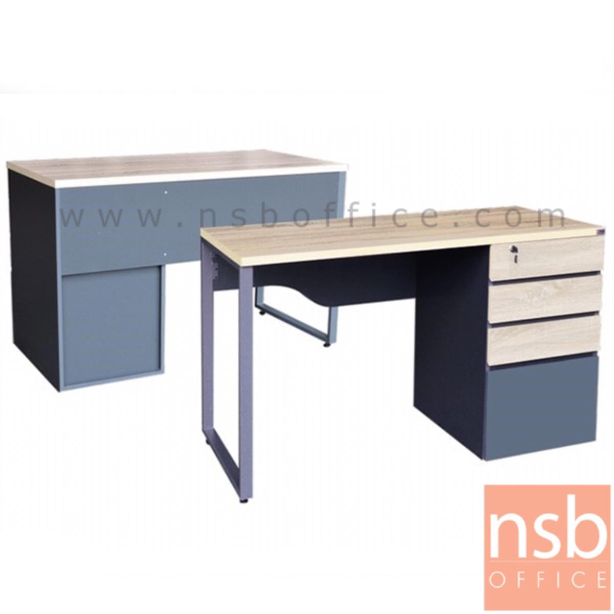 A10A069:โต๊ะทำงาน 4 ลิ้นชัก  รุ่น Armor (อาร์เมอร์) ขนาด 120W cm. ขาเหล็ก  สีโซลิคตัดเทาเข้มหรือสีมูจิตัดเทาเข้ม