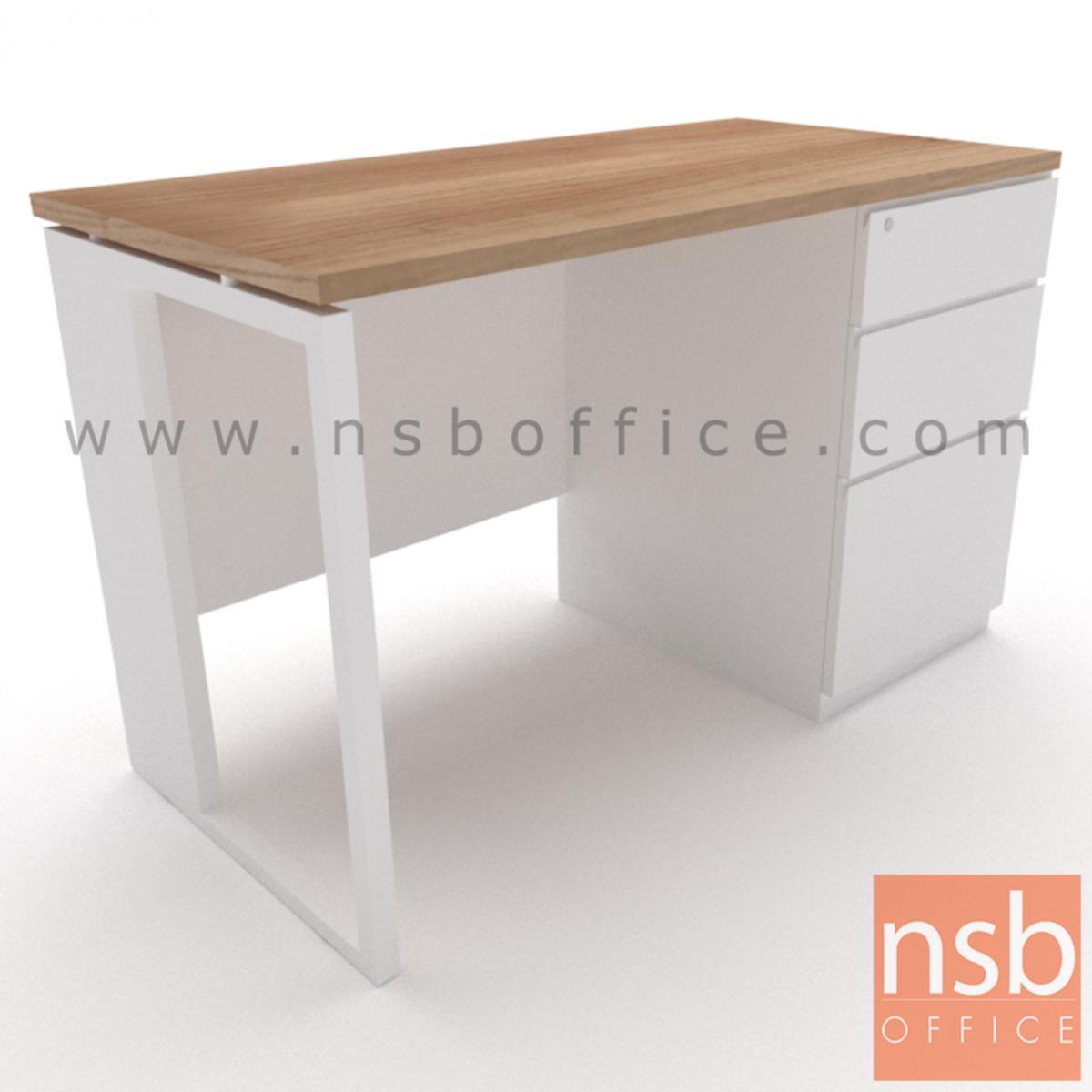 โต๊ะทำงานทรงสี่เหลี่ยม 3 ลิ้นชัก  รุ่น Elwood (เอลวูด) ขนาด 120W ,135W ,150W ,160W ,180W*60D ,75D cm.  ขาเหล็กกล่องพ่นขาว