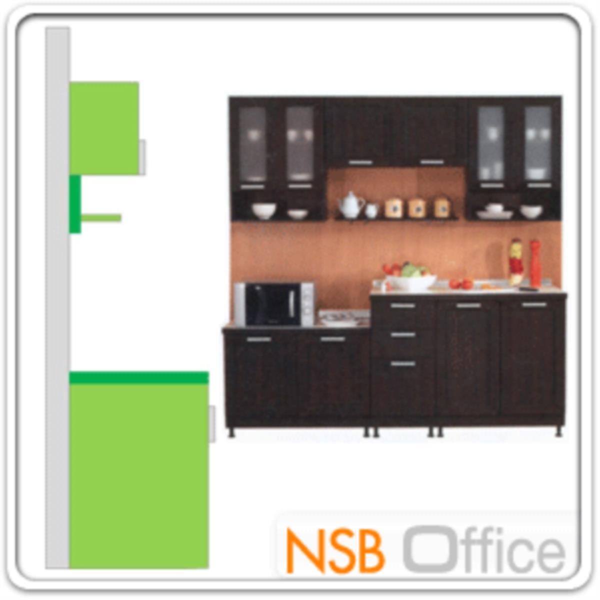ชุดตู้ครัวหน้าเรียบ 210W cm. รุ่น STEP-006  พร้อมตู้แขวนลอย
