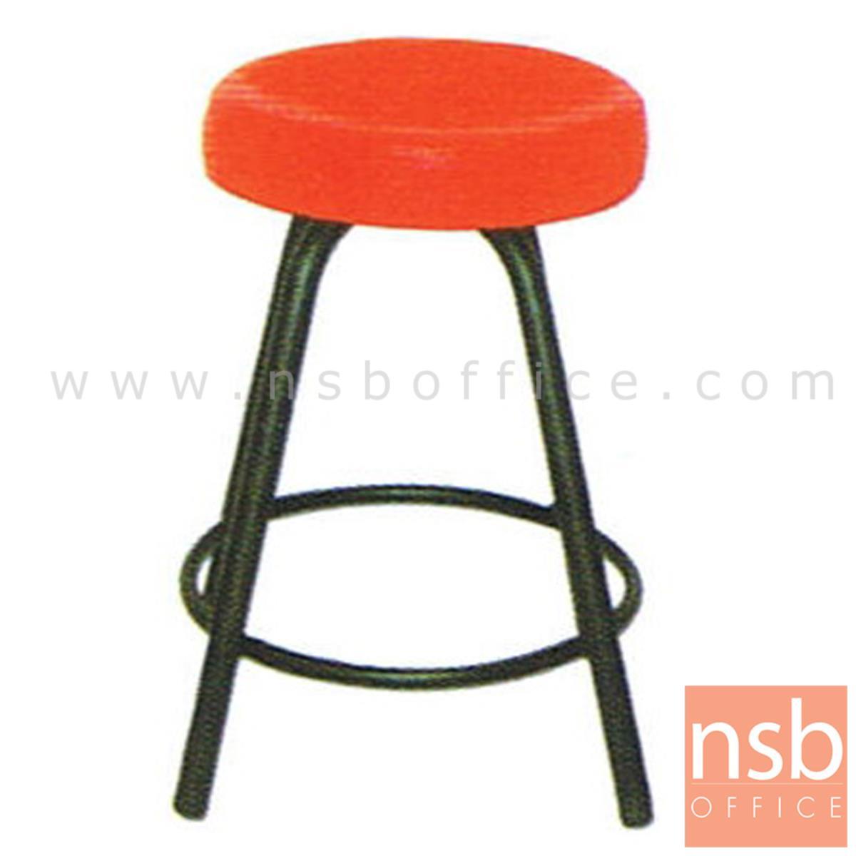B09A013:เก้าอี้สตูลกลมที่นั่งหุ้มหนังเทียม รุ่นเหล็กหนาพิเศษ ขนาด 36Di*45H cm. ขาเหล็ก