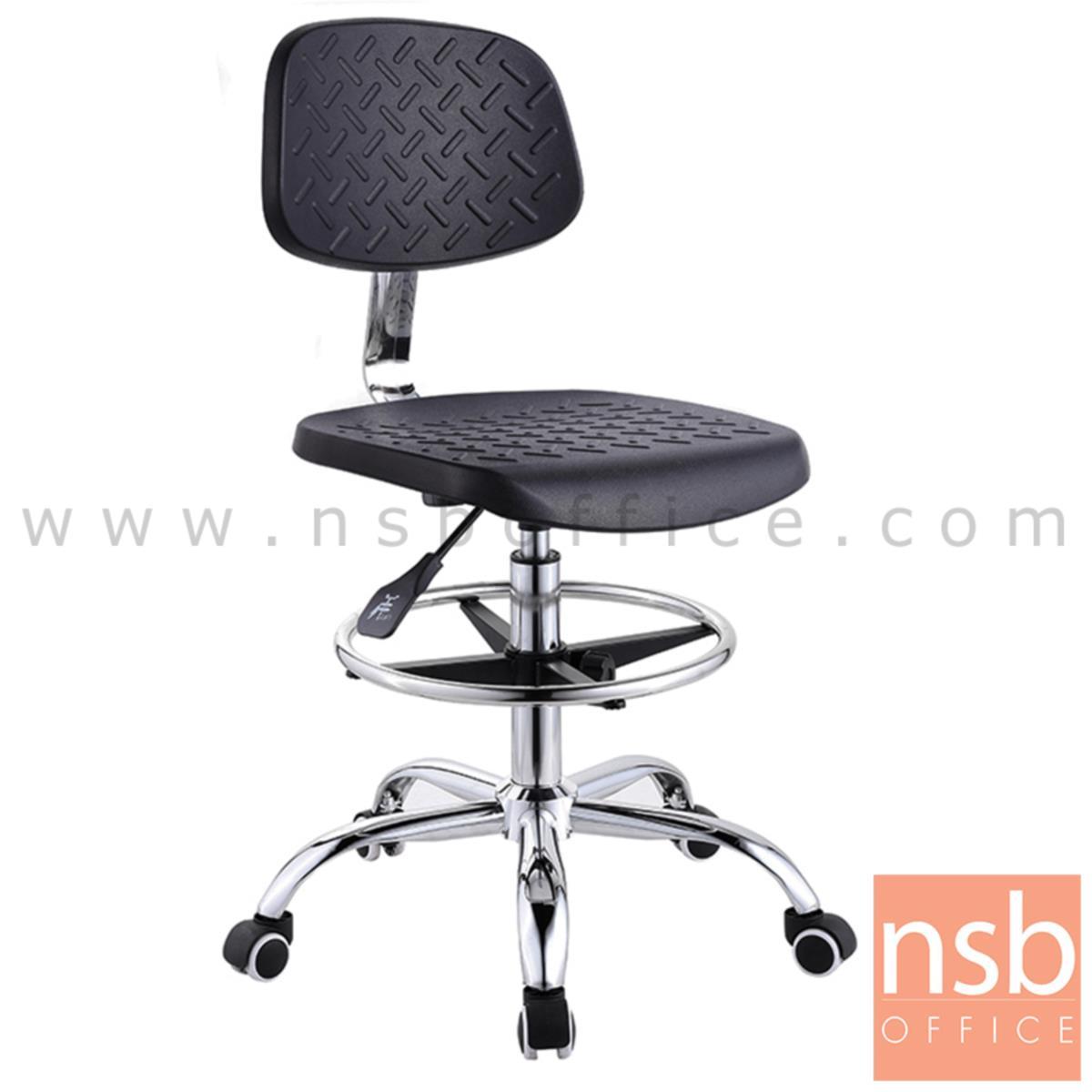 B02A070:เก้าอี้บาร์ที่นั่งเหลี่ยมล้อเลื่อน รุ่น Meryl (เมอรีล)  โช๊คแก๊ส ขาเหล็กชุบโครเมี่ยม