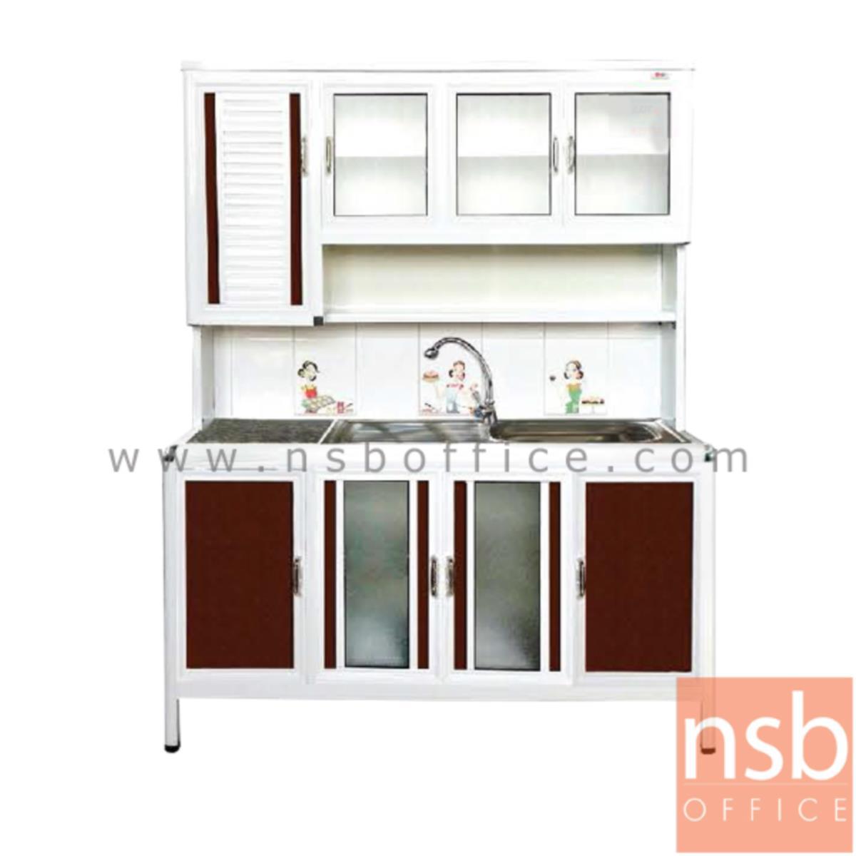 ตู้ครัวอลูมิเนียมอ่างซิงค์ 1 หลุม มีที่พักจาน กว้าง 160 ซม รุ่น GAPE 160S