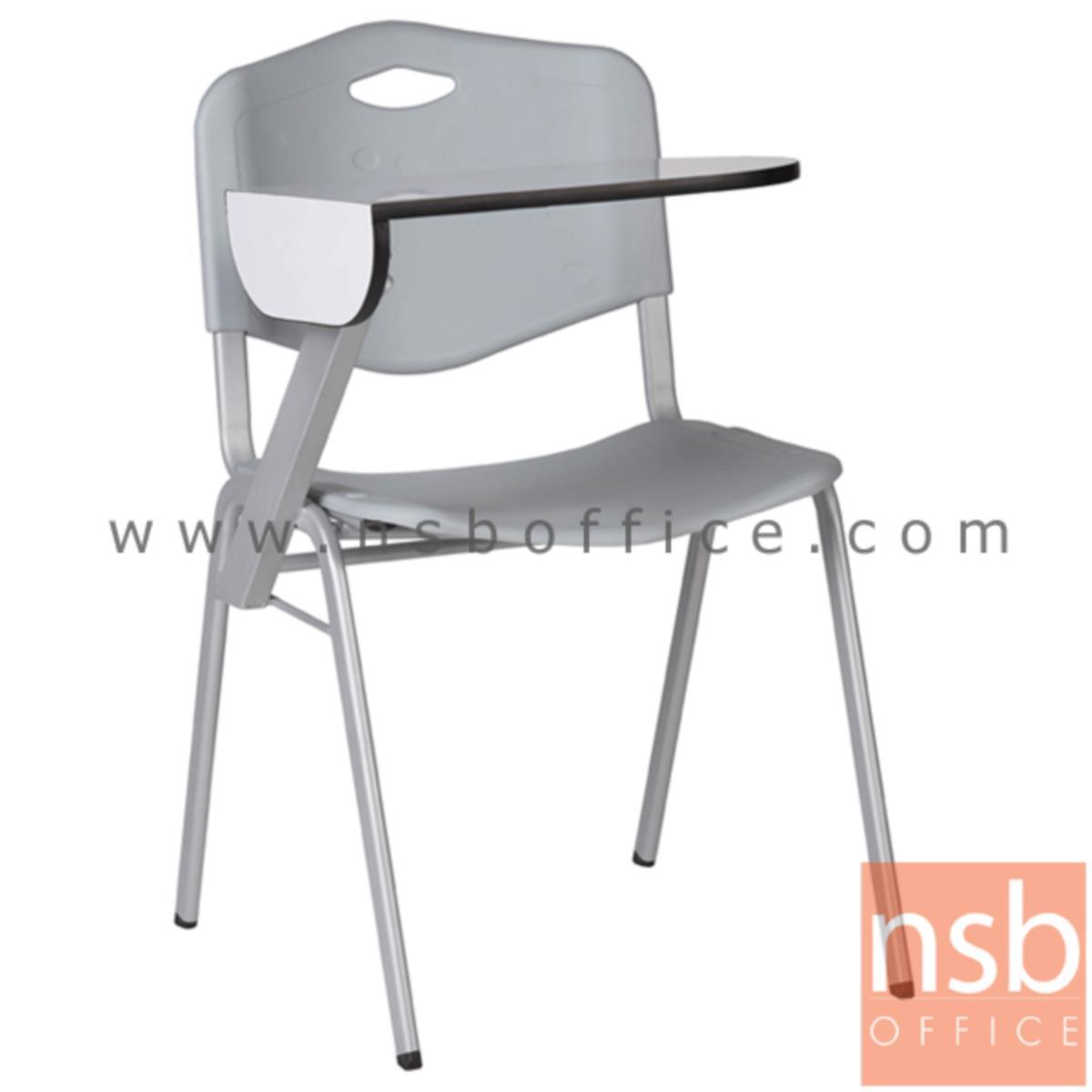 B07A063:เก้าอี้เลคเชอร์เฟรมโพลี่ รุ่น B418 ขาเหล็กพ่นเทา