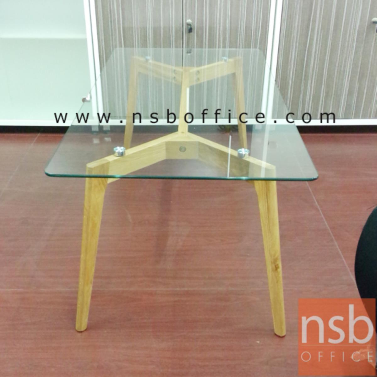 โต๊ะกลางกระจก  รุ่น Wilson (วิลสัน) ขนาด 120W cm. ขาไม้
