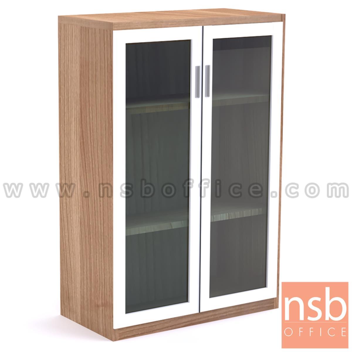 C01A080:ตู้เอกสาร 2 บานเปิดกระจกเฟรมอลูมิเนียม รุ่น Prince (ปริ๊นซ์) ขนาด 120H cm. เมลามีน