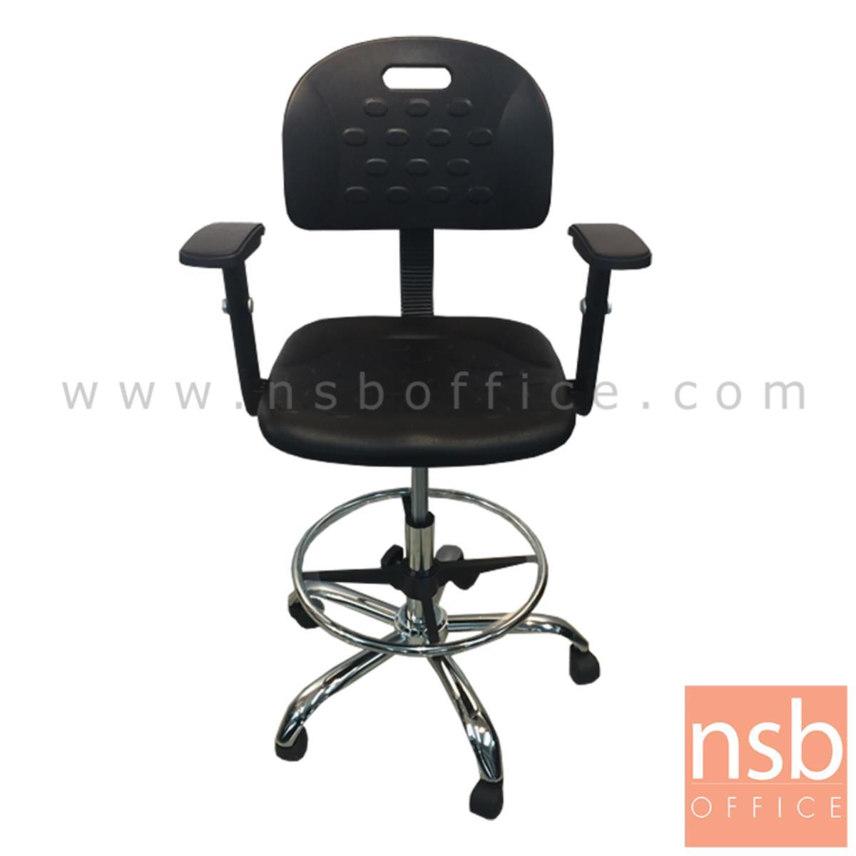 B09A194:เก้าอี้บาร์ที่นั่งเหลี่ยมล้อเลื่อน รุ่น Routh (เราธ์)  โช๊คแก๊ส ขาเหล็กชุบโครเมี่ยม