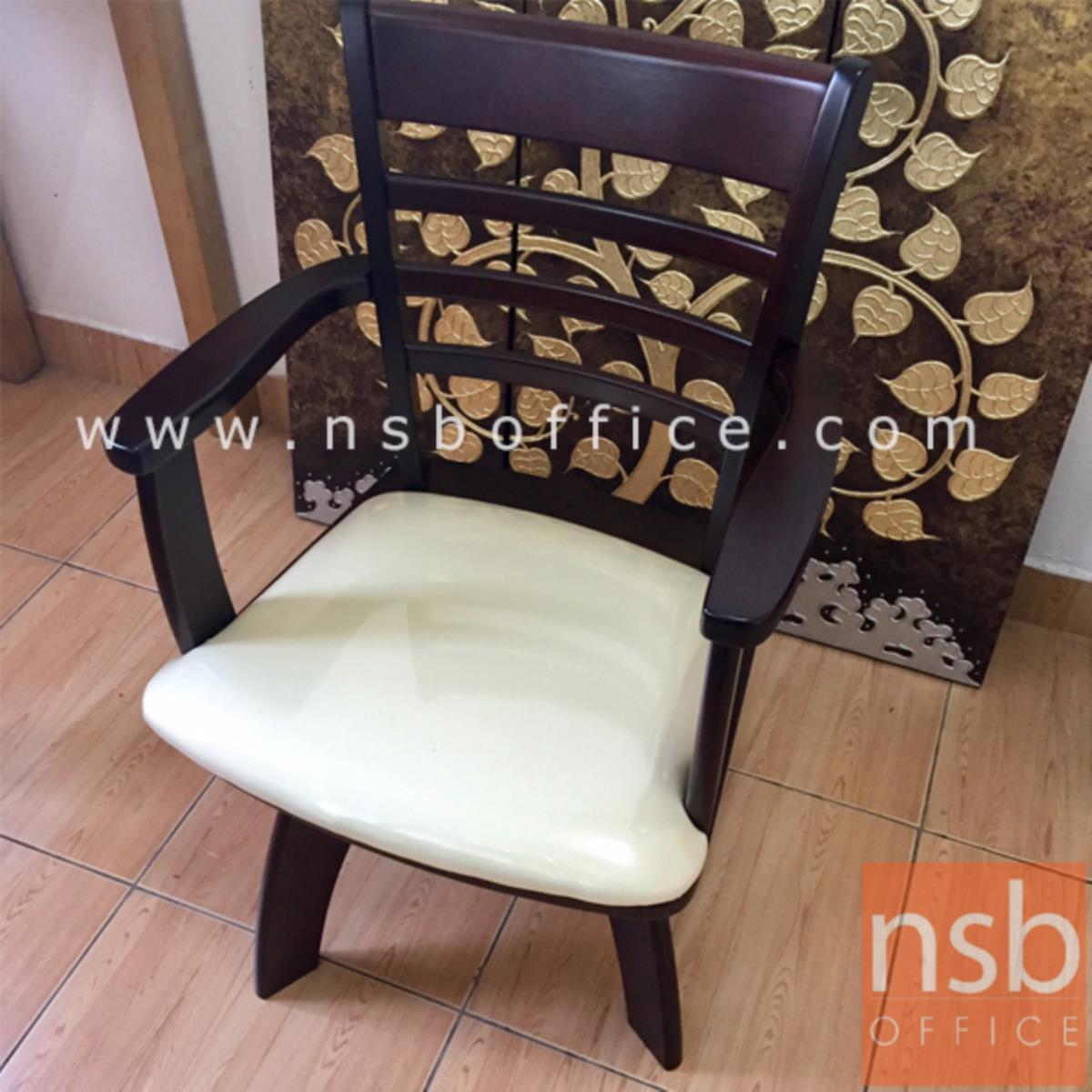 G14A050:เก้าอี้ไม้ยางพาราที่นั่งหุ้มหนังเทียม รุ่น Kornbluth (คอร์นบลู๊ท) ขาไม้ (เบาะหมุน)