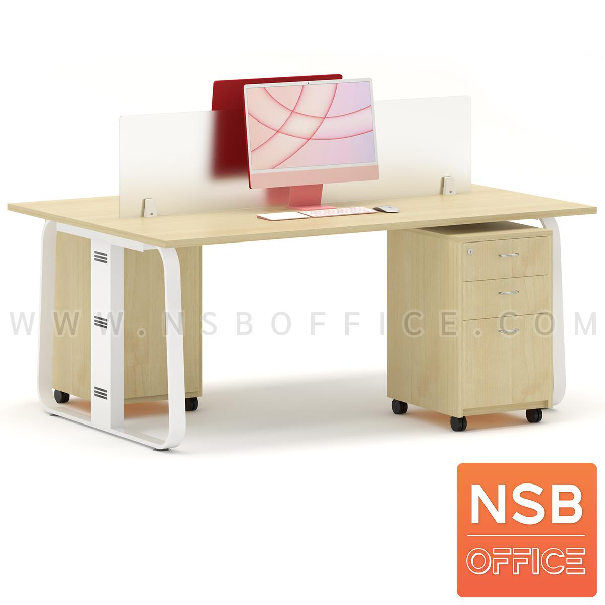 ชุดโต๊ะทำงานกลุ่มขาเหล็ก 2 ที่นั่ง รุ่น Lenka 4 (เล็งกา 4) ขนาด 180W*120D cm พร้อมมินิสกรีนและตู้ลิ้นชักไม้ล้อเลื่อน