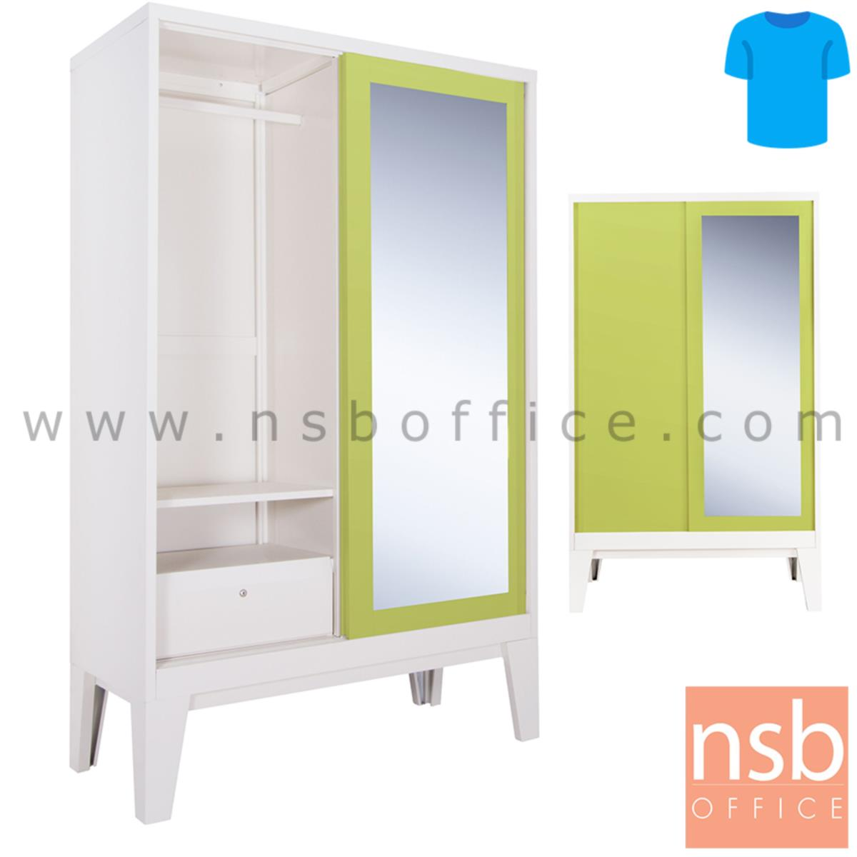E23A024:ตู้เสื้อผ้าบานเลื่อนกระจกเงา สูง 200H cm. รุ่น BW-04  แบบมีลิ้นชักและไม่มีลิ้นชัก พร้อมขารองตู้