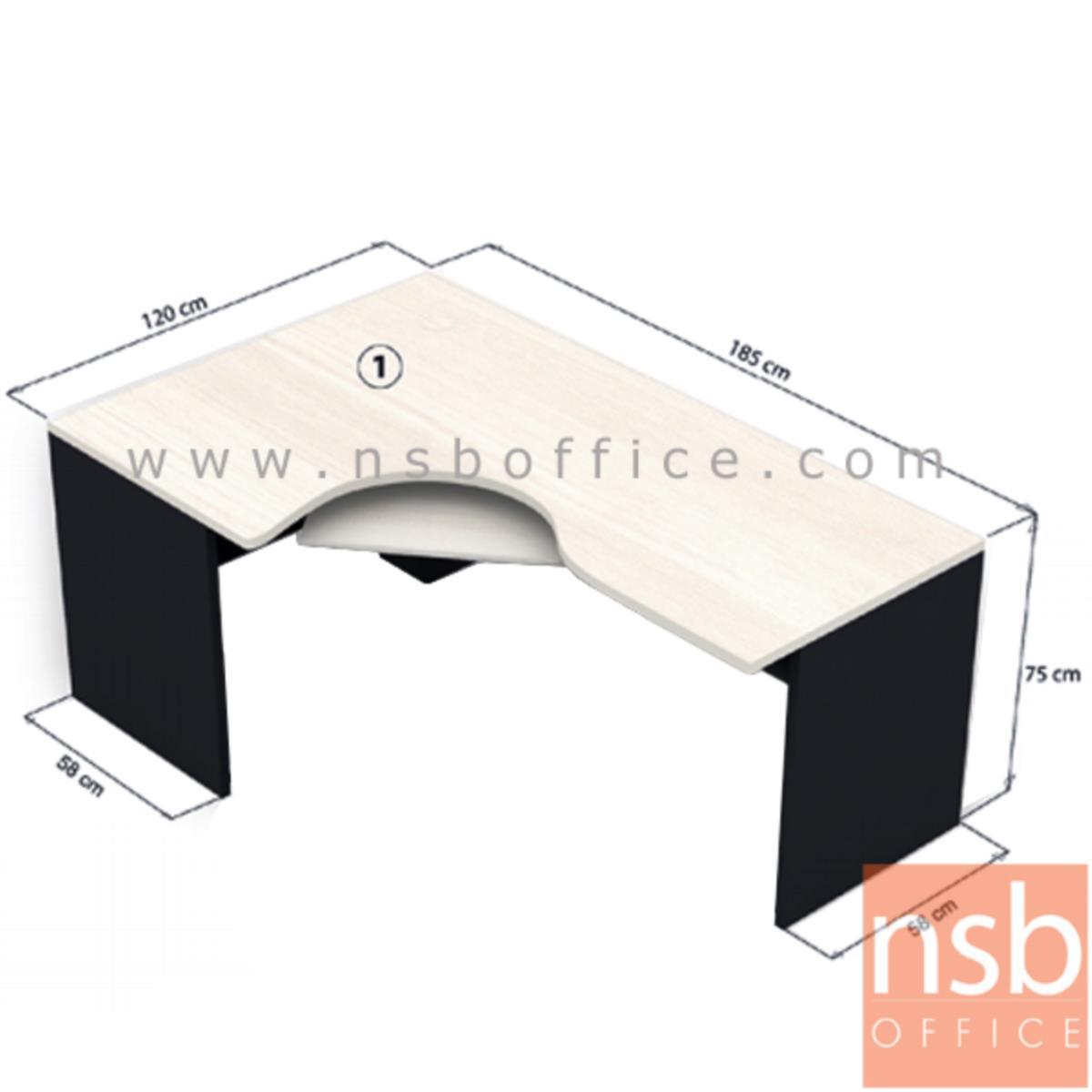 A12A025:โต๊ะผู้บริหารตัวแอลหน้าโค้งเว้า  รุ่น Shelby 5 ขนาด 185W1*120W2 cm.  พร้อมคีย์บอร์ด