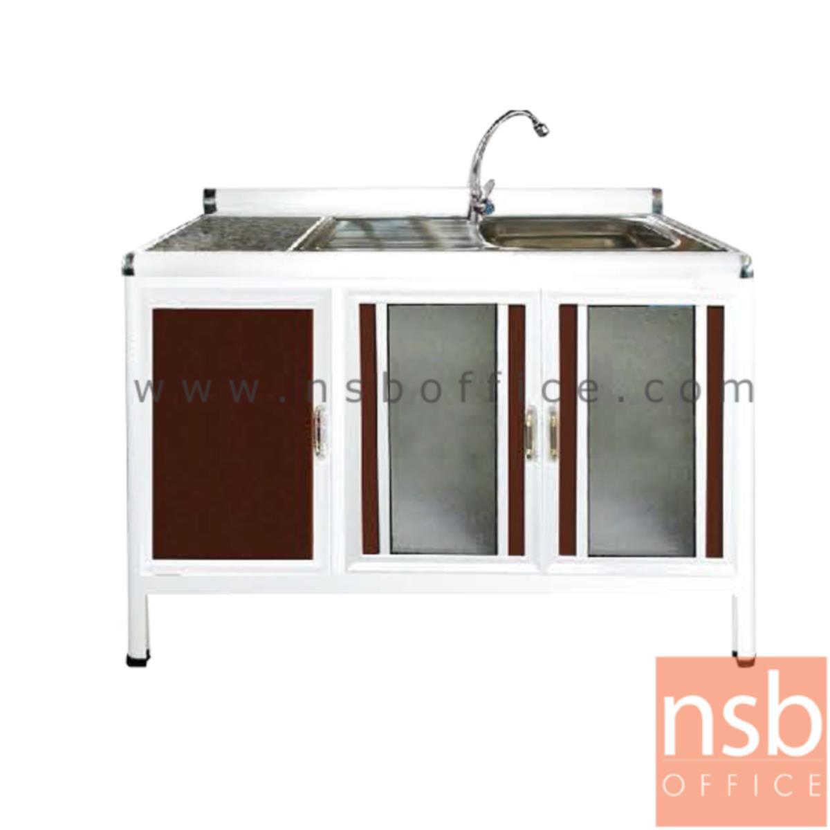 ตู้ครัวตอนล่างอลูมิเนียมอ่างซิงค์  1 หลุม มีที่พักจาน  กว้าง 120 ซม รุ่น GBPE 120S