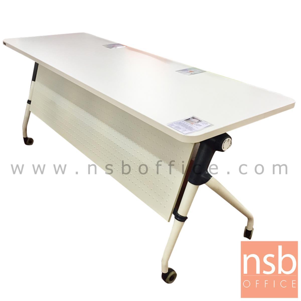 A07A056:โต๊ะประชุมพับเก็บได้ล้อเลื่อน รุ่น TY-860 ขนาด 160W ,180W*(60D, 80D) cm.  พร้อมบังโป๊และตะแกรงวางของ