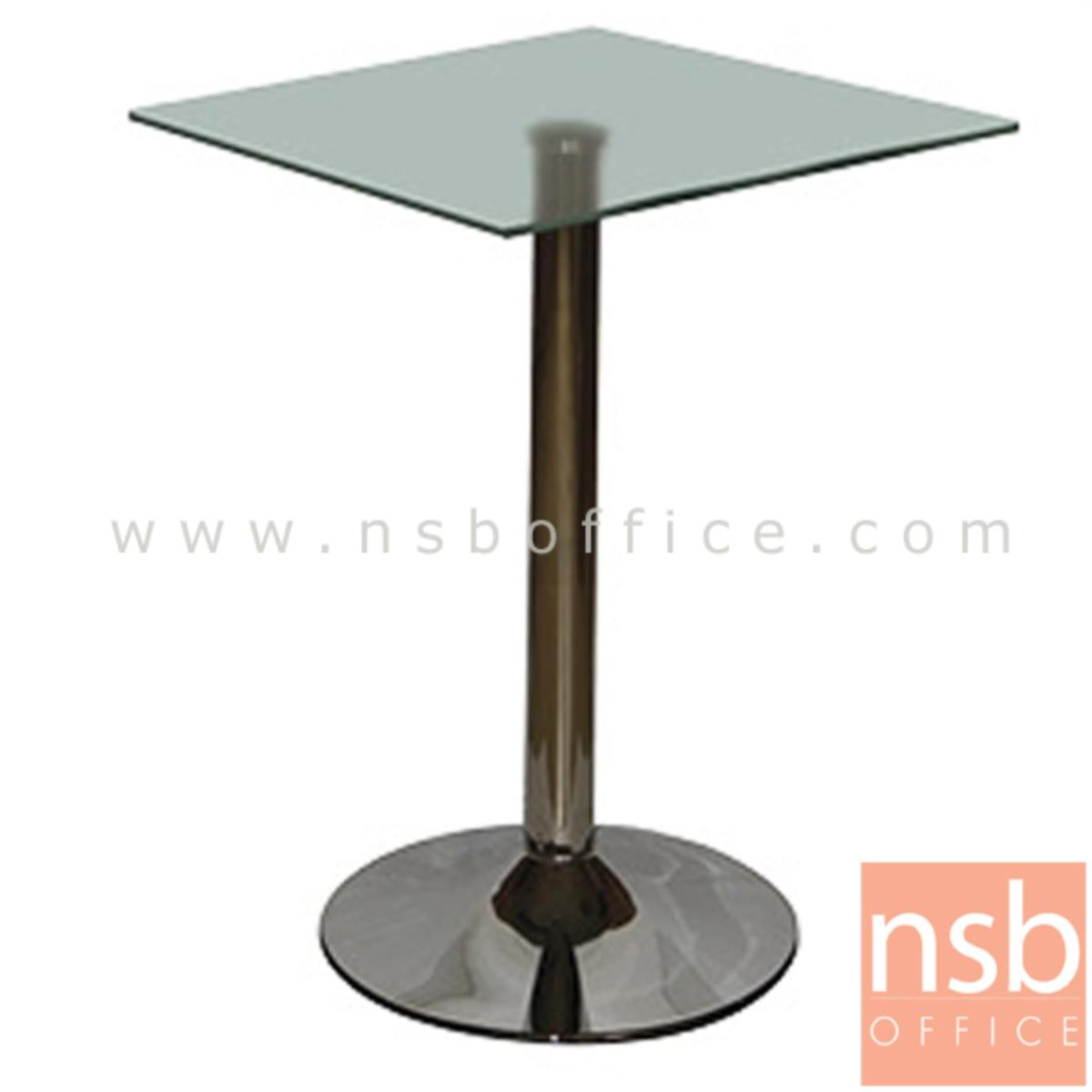 A09A084:โต๊ะเหลี่ยมหน้ากระจก รุ่น LOVE (เลิฟ) ขนาด 60W cm.  ขาเหล็กชุบโครเมี่ยม