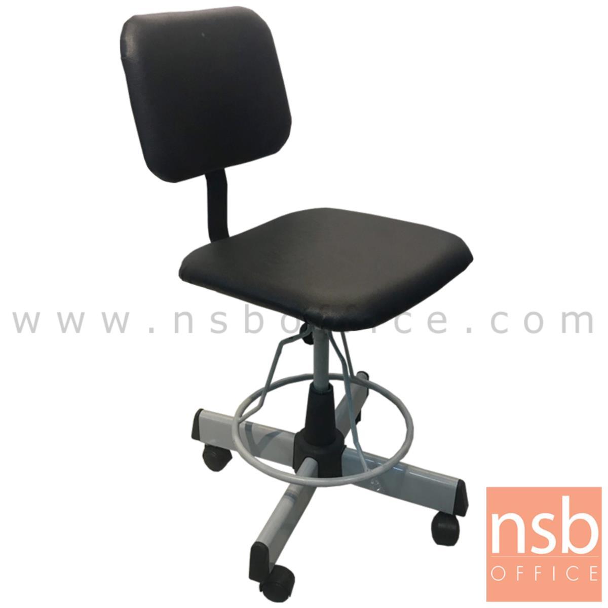 B14A120:เก้าอี้บาร์ที่นั่งเหลี่ยมล้อเลื่อน รุ่น Jacintha (จาซินธ่า)  ขาเหล็ก 4 แฉก
