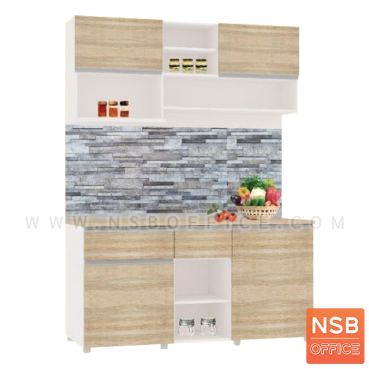 K05A014:ชุดตู้ครัวพร้อมตู้แขวน 2 บานเปิก 2 ลิ้นชัก รุ่น Brenna (เบรนน่า) ขนาด 160W cm. สีเนเจอร์ทีค-ขาว