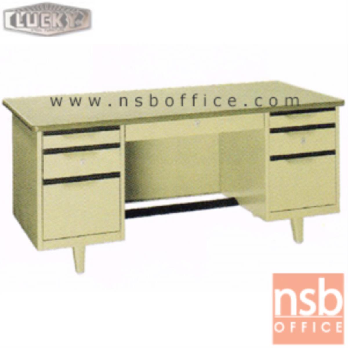 E28A105:โต๊ะทำงานเหล็กหน้าโฟเมก้า 7 ลิ้นชัก ยี่ห้อ Lucky  รุ่น TC-2654,TC-3060,TC-3472