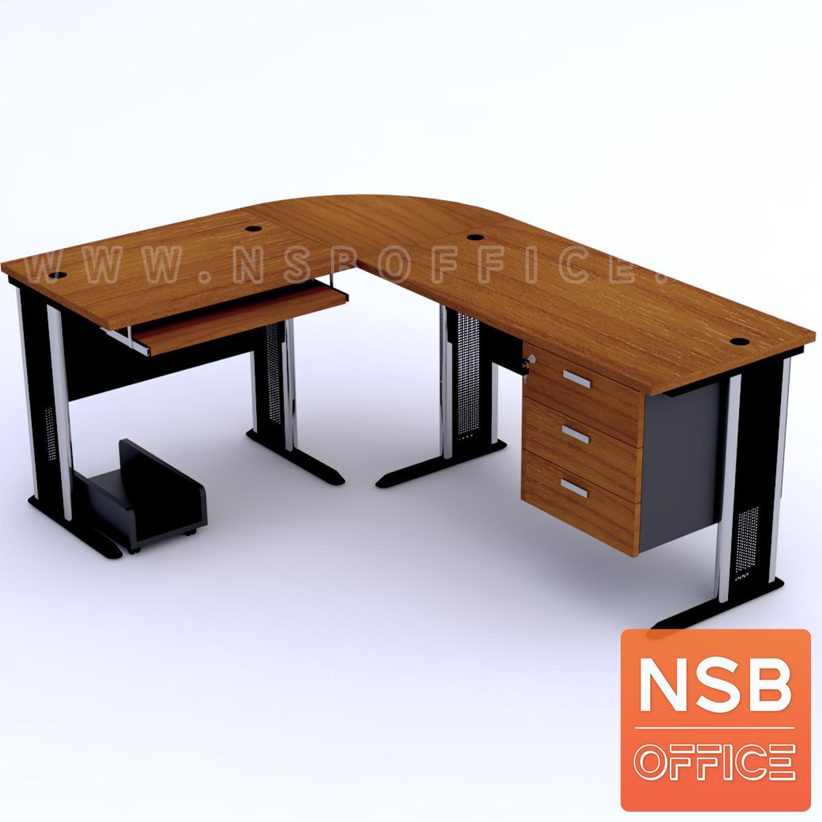 A13A028:โต๊ะผู้บริหารตัวแอลหัวโค้ง  รุ่น Orbit (ออบิต) ขนาด 180W1*140W2 cm. ขาเหล็กโครเมี่ยมดำ สีเชอร์รี่ดำ