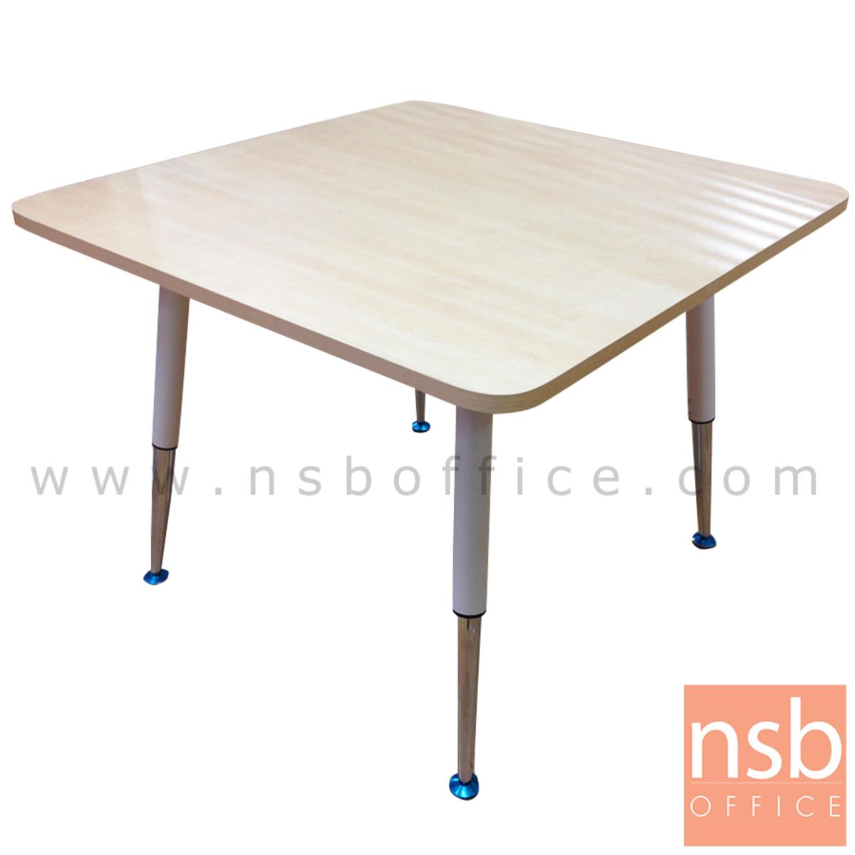 A05A125:โต๊ะประชุมทรงเหลี่ยมมุมโค้ง   ขนาด 100W cm. ขาปลายเรียวขาวตัดโครเมี่ยม