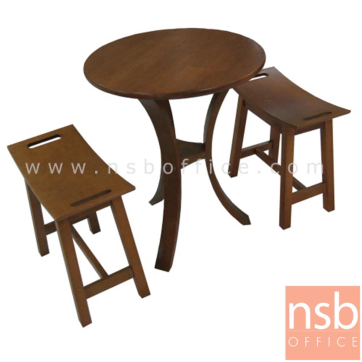 L01A099: ชุดโต๊ะกาแฟฟิวชันไม้ยาง สีโอ๊ค ขนาดโต๊ะ 60*60*75 ซม.