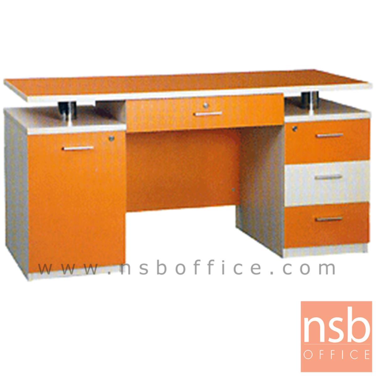 โต๊ะทำงาน 4 ลิ้นชัก 1 บานเปิด รุ่น Hamilton (ฮามิลตัน) ขนาด 150W ,180W cm. เมลามีน