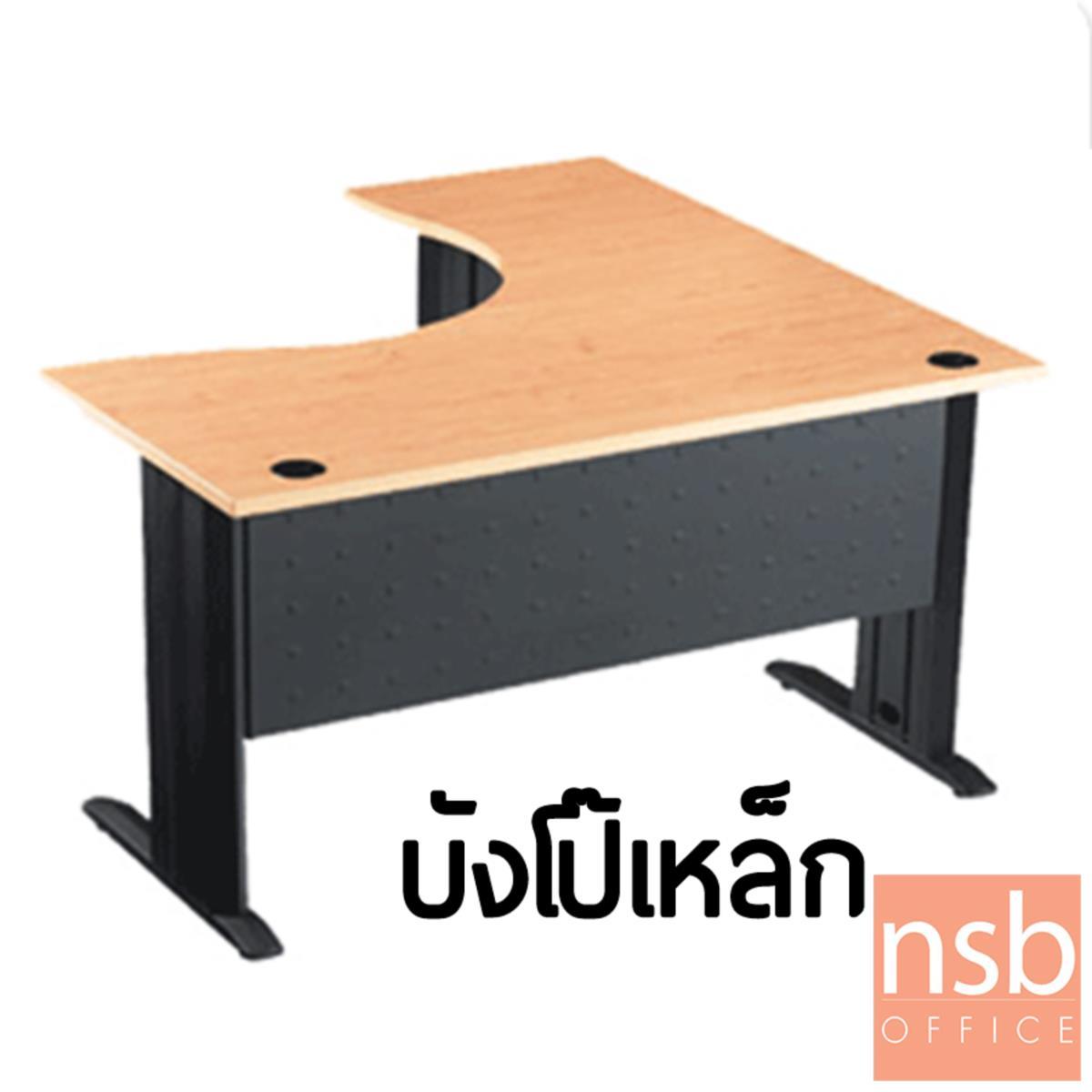 โต๊ะทำงานตัวแอลหน้าโค้งเว้า  รุ่น S-DK-62121  ขนาด 120W1*120W2 cm. ขาเหล็กตัวแอลพ่นดำ