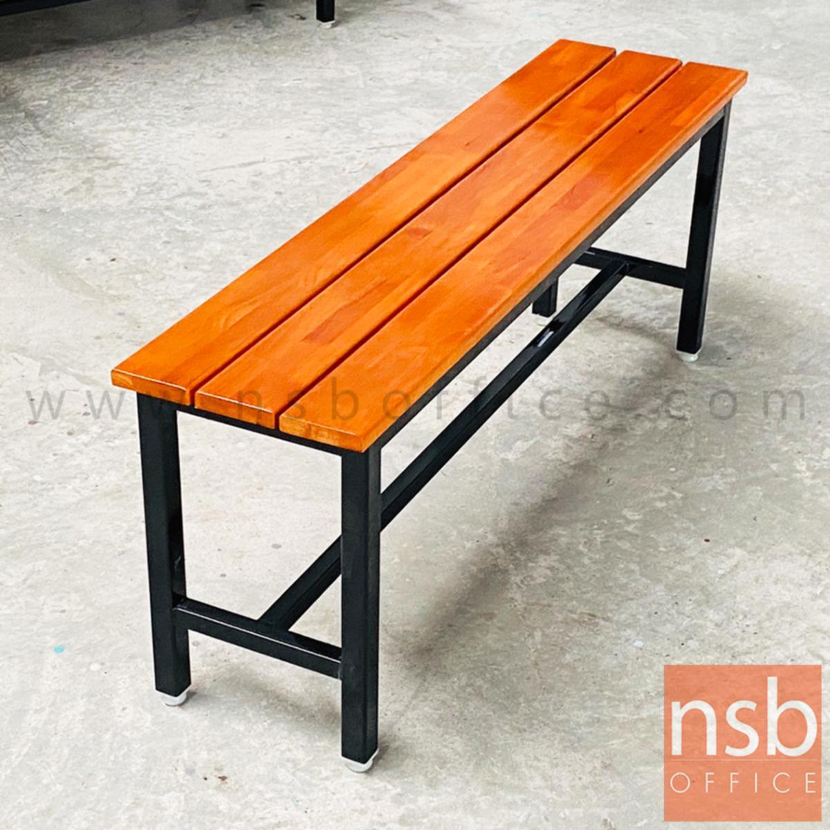 """B22A130:ม้านั่งโรงอาหาร ไม้สักระแนง ทำสีสักหน้า 4"""" นิ้ว  (ลึก 30D cm) ขาเหล็กสีดำ"""