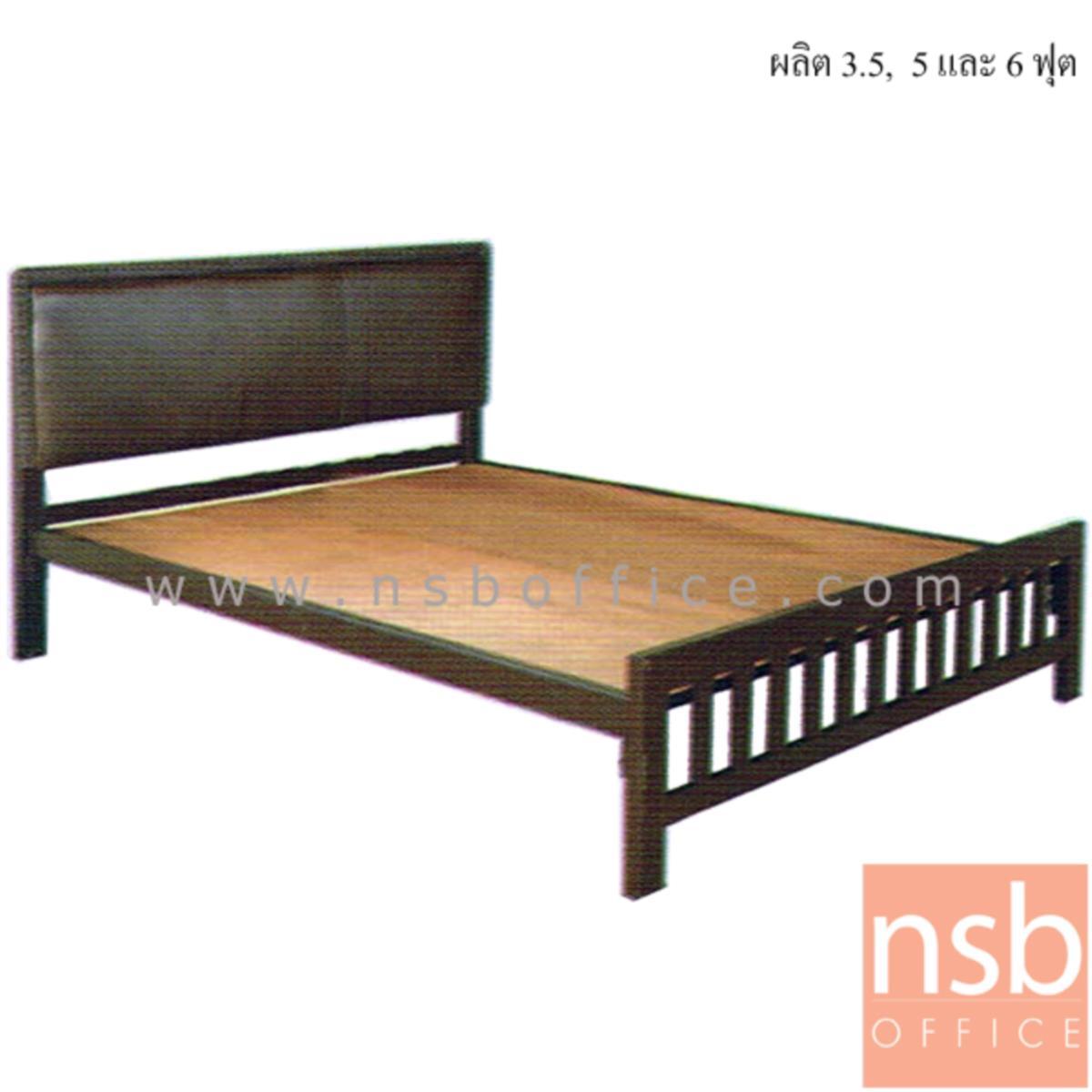 G11A260:เตียงเหล็ก หัวเตียงสูงบุหนังเทียม  รุ่น Rosemarie (โรสแมรี) (ผลิต 3.5, 5 และ 6 ฟุต) พร้อมแผ่นไม้ปูเตียง
