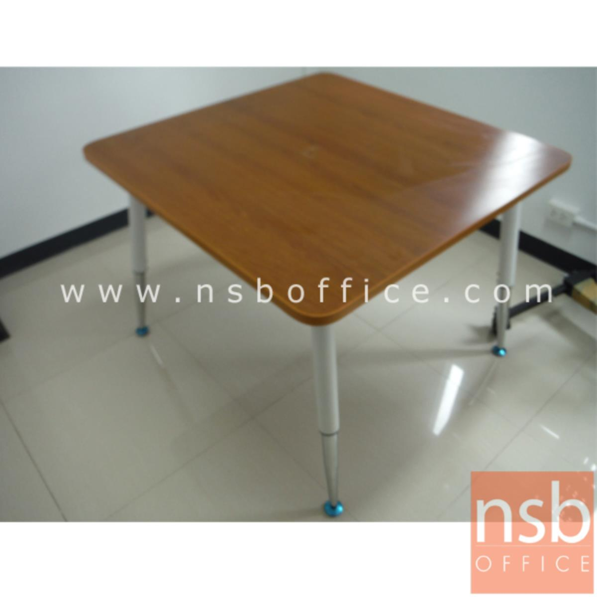 โต๊ะประชุมทรงเหลี่ยมมุมโค้ง   ขนาด 100W cm. ขาปลายเรียวขาวตัดโครเมี่ยม