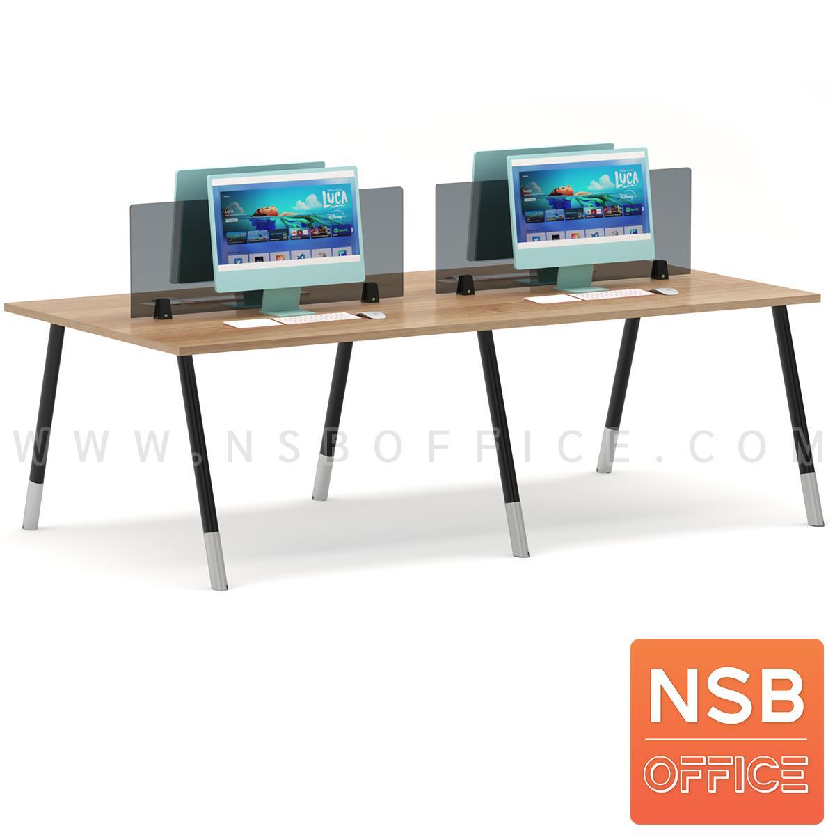 A04A161:ชุดโต๊ะทำงาน 4 ที่นั่ง  รุ่น Brenton (เบรนตัน) ขนาด 240W*120D cm. พร้อมมินิสกรีนด้านหน้า