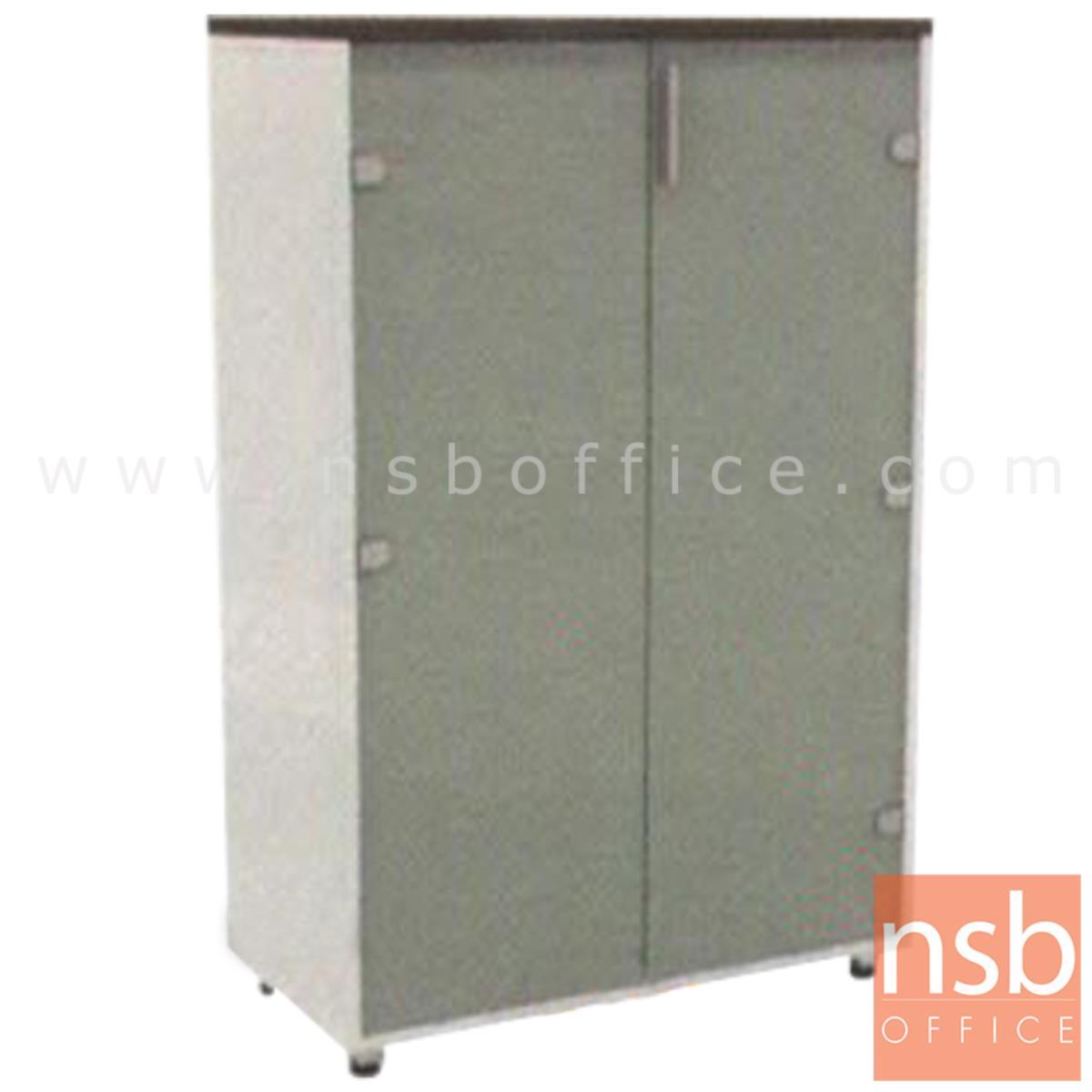 C05A006:ตู้เอกสาร สูง 125 cm. บานเปิดกระจก นุ่มนวลลดแรงกระแทก รุ่น HB-CI814  ขาชุบโครเมี่ยม