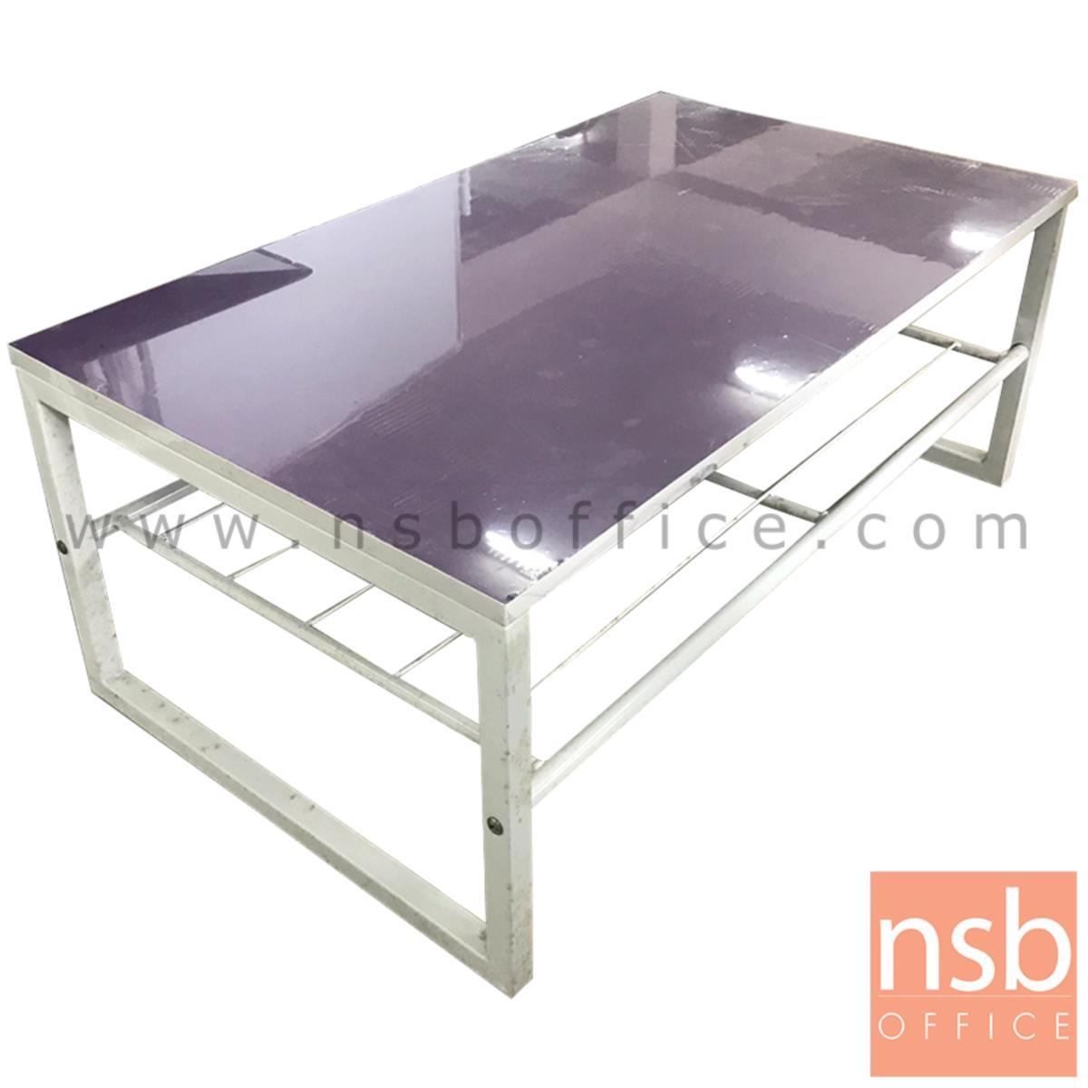 โต๊ะกลางพีวีซี TOP ม่วงอ่อน  ขนาด 92W*37.5H cm.  ขาเหล็กพ่นสีขาว