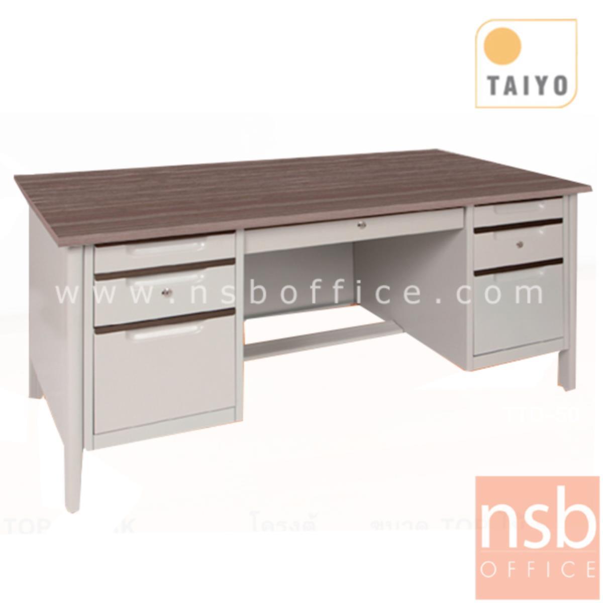 E22A018:โต๊ะทำงานเหล็ก 7 ลิ้นชัก TOP เมลามีน  รุ่น TTD-50 ขนาด 160.5W*75H cm. ขากล่องใหม่ชิดริม