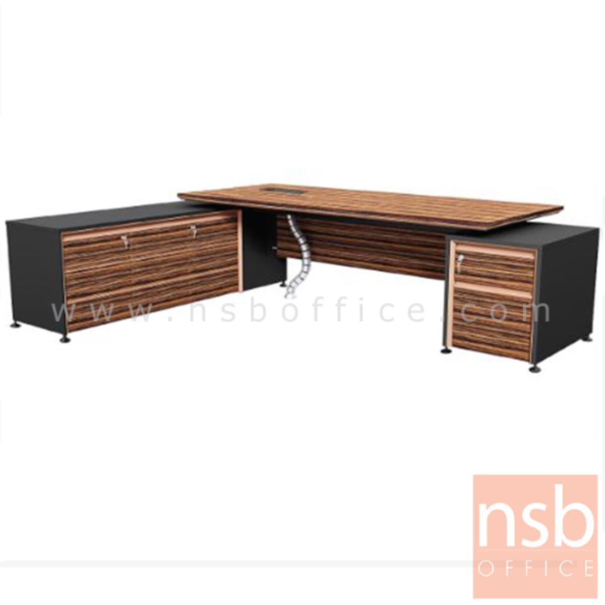 A26A002:โต๊ะผู้บริหารตัวแอล  รุ่น Extrême ขนาด 289.5W cm. พร้อมบังตา สีลายไม้ซีบราโน่ตัดดำ ขอบ ROSEGOLD