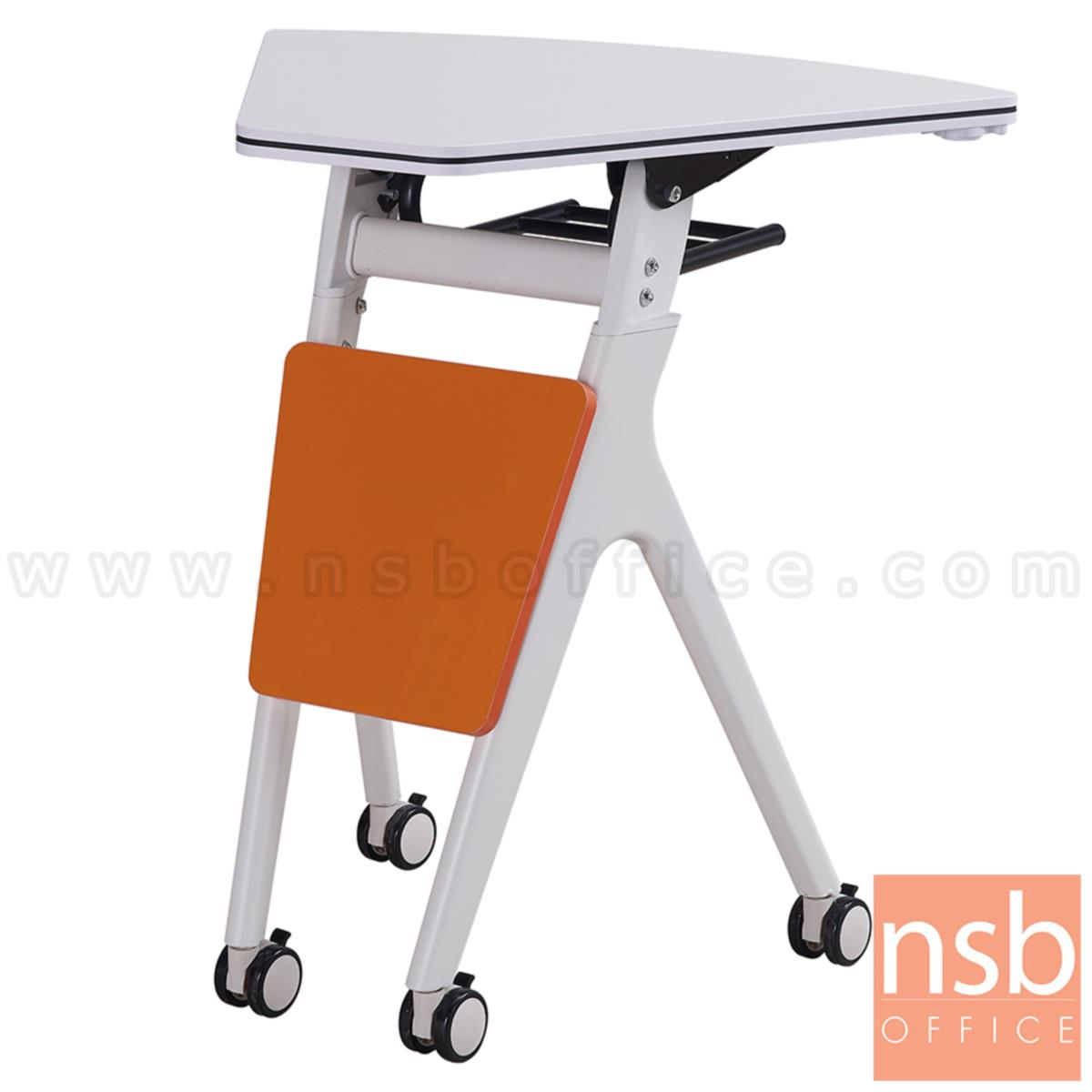 A18A101:โต๊ะพับล้อเลื่อน 1/6 รุ่น Lucy (ลูซี่)  โครงเหล็กพ่นสีขาว บังตาไม้
