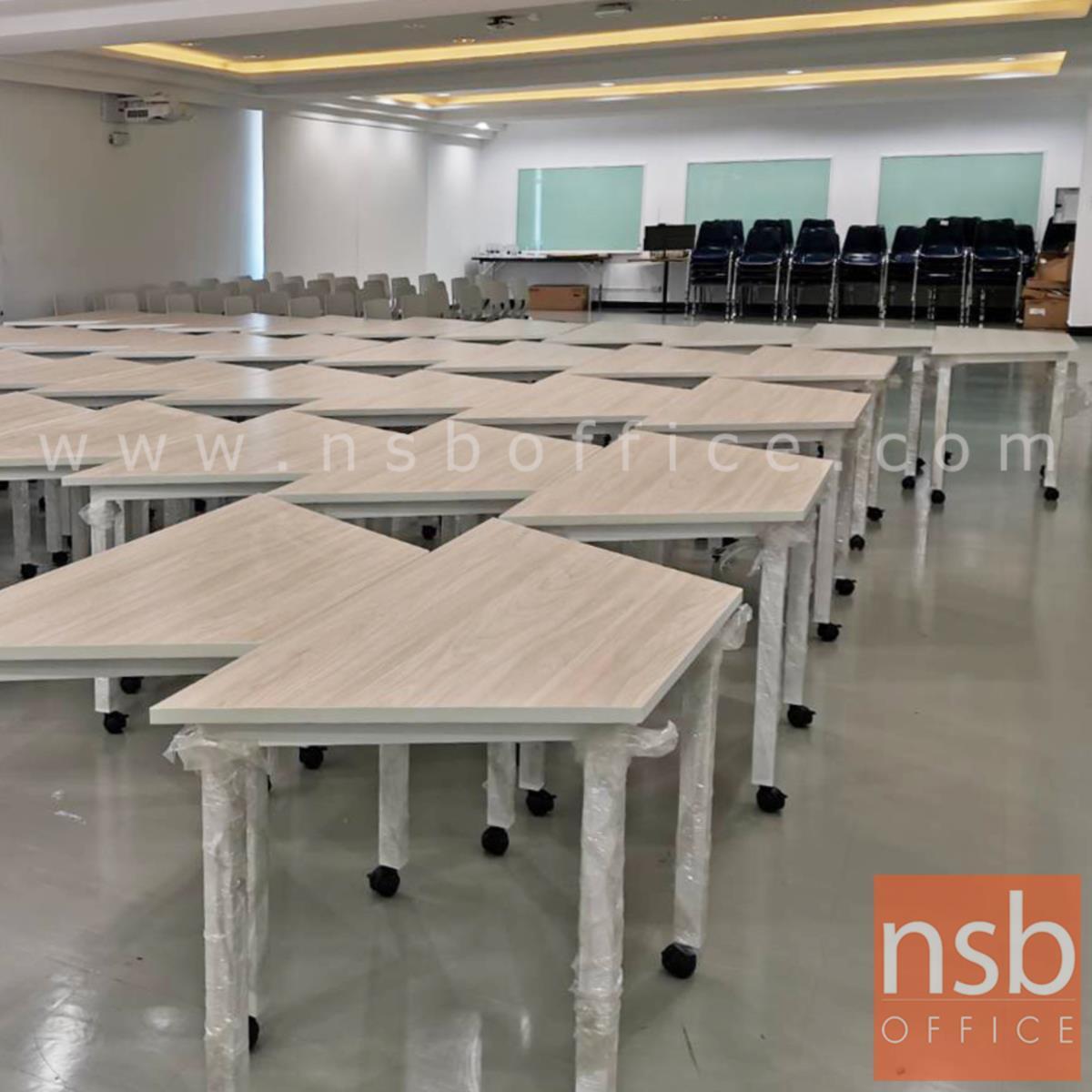 โต๊ะทำงานทรงคางหมูมีล้อ รุ่น Quince (ควินซ์) ขนาด 105W ,120W ,140W ,180W cm.  โครงขาเหล็กเหลี่ยม ล้อเลื่อน