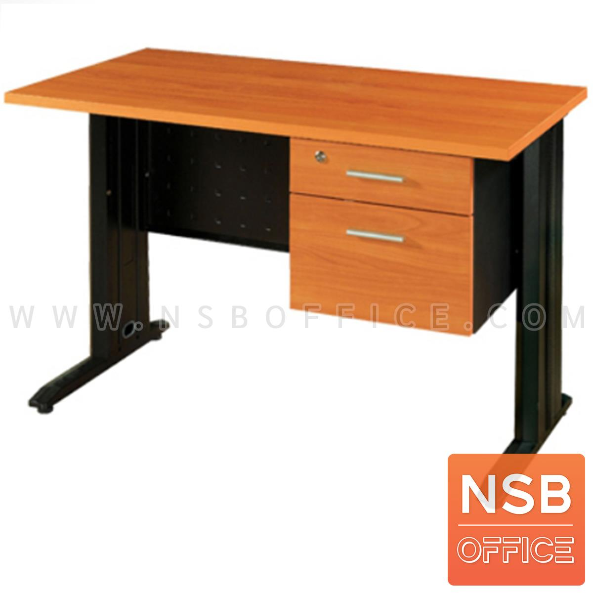 A10A003:โต๊ะทำงาน 2 ลิ้นชัก 120W*75H cm.  รุ่น S-DK-2021   ขาเหล็กตัวแอลสีดำ