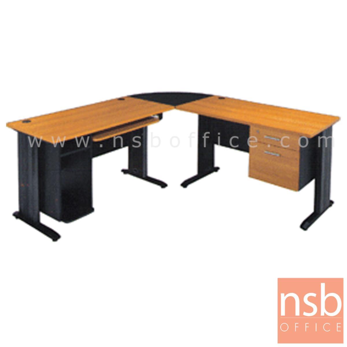 A10A004:โต๊ะผู้บริหารตัวแอลหัวโค้ง 2 ลิ้นชัก  รุ่น Lucky Wish (ลัคกี้ วิช) ขนาด 180W1*180W2 cm.  ขาเหล็ก สีเชอร์รี่-ดำ