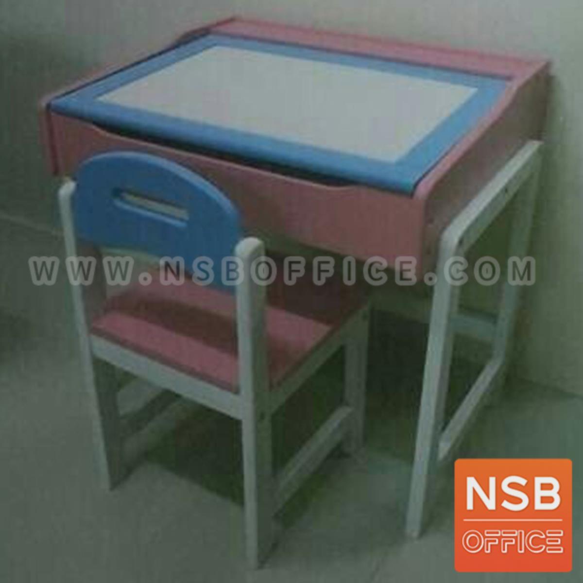 G20A009:ชุดโต๊ะและเก้าอี้นักเรียนไม้ยางพารา รุ่น Conner (คอนเนอร์)  มีที่เก็บของใต้โต๊ะ สีแฟนซี